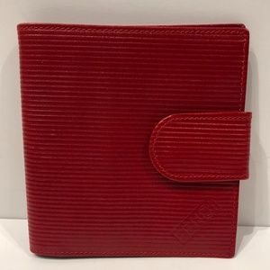 FENDI Red Ribbed Leather Bi-Fold Coin Wallet